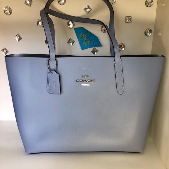 Coach Handbags - COACH💎AVENUE TOTE STELLAR BLUE/METALLIC SILVER